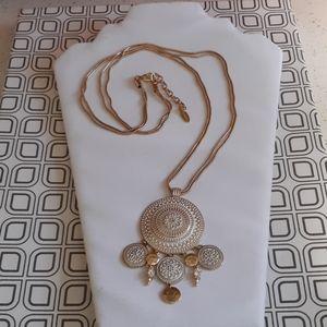 St Thomas Gold Tone Snake Chain and Enamel Pendant